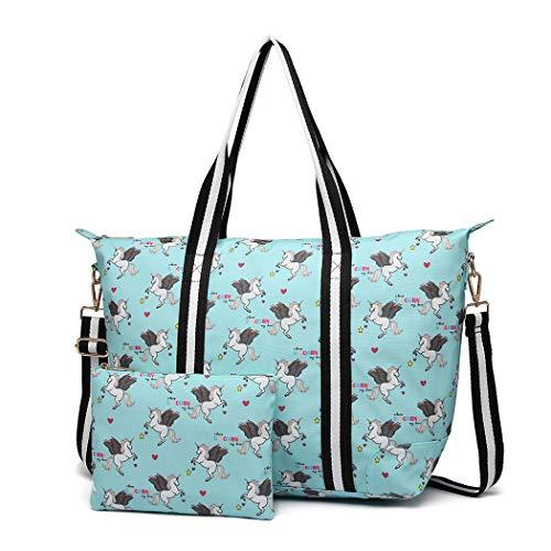 Miss Lulu Damen Vintage Canvas Shopper Handtasche Set 2 Stücke Schultertasche Einkaufstasche mit Geldbörse Unicorn (Einhorn Blau)