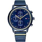 Tommy Hilfiger Damen-Armbanduhr Analog Quarz One Size, blau, zweifarbig