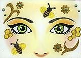 Face Art Decor Glitzer Tattoo Sticker Biene - Wunderschöne Dekoration für Gesicht zu Karneval, Geburtstag, Mottoparty oder Kirmes