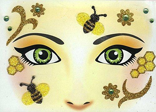 Face Art Decor Glitzer Tattoo Sticker Biene - Wunderschöne Dekoration für Gesicht zu Karneval, Geburtstag, Mottoparty oder - Marienkäfer Gesicht Kostüm