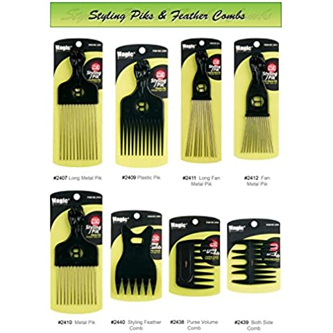 Professional Styling Combs - High Quality Detangling Brushes and Afro Piks - Smooth Finish and Heat Resistant - Magic Collection (#2407 Long Metal Pik ) by Avany