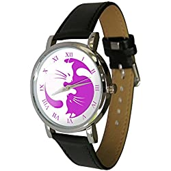 Cute Pink Yin Yang Cats Design fashion watch. The perfect cat lovers gift. Genuine Leather Strap