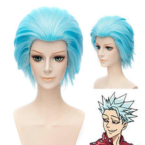 EDAY 30cm Kurze Blaue Anime Cosplay Perücke Die Sieben Tödlichen Sünden Ban Kostüm - 7 Sünden Kostüm