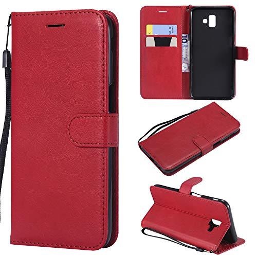 Artfeel Flip Brieftasche Hülle für Samsung Galaxy J6 Plus/J6 Prime, PU Leder Handyhülle mit Kartenhalter,Retro Bookstyle Stand Abdeckung mit Magnetverschluss Handschlaufe Schutzhülle-Rot -