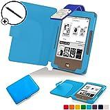 Forefront Cases® Tolino Page Shell Hülle Schutzhülle Tasche Bumper Folio Smart Case Cover Stand mit LED Licht - Leicht mit Rundum-Geräteschutz inkl. Eingabestift (Hell Blau)