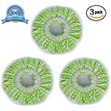 Smile Mom Spin Mop Head Microfiber Refill for Floor Cleaning White & Green (110 Gram, Pack of 3)