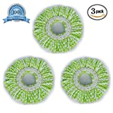 #9: Smile Mom Spin Mop Head Microfiber Refill for Floor Cleaning (White & Green Pack of 3)