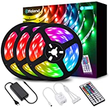 Elfeland LED Streifen 12M RGB LED Strip 360 LEDs 5050SMD LED Band Stripes Lichtband TV Hintergrundbeleuchtung Lichterkette Bänder mit Fernbedienung Netzteil Controller Selbstklebend Full Kit 3 * 4M