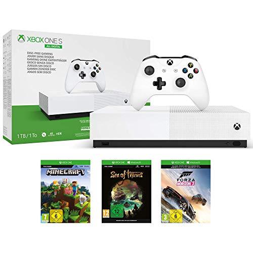 Microsoft Xbox One S All Digital -  Consola de 1 TB,  color blanco + 1 mes de Xbox Live Gold,  1 mando blanco,  Forza Horizon 3 (juego digital),  Minecraft (juego digital),  Sea of Thieves (juego digital)