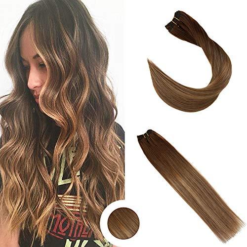Ugeat 18 pollici/45cm ombre extensions clip veri capelli umani marrone ombre dritto clip estensioni capelli 120g 7pcs