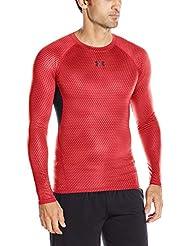Under Armour Ua Hg Printed Ls-Red//Blk T-Shirt de Compression Homme