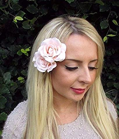 Starcrossed Boutique Double Light Peach Pink Rose Flower Hair Clip Bridesmaid Fascinator 1950s 3239