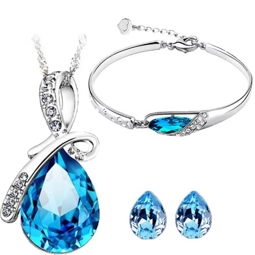 CYAN bow style crystal jewelry set Combo with charming bracelet for women  available at amazon for Rs.499