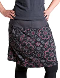 Vishes - Alternative Bekleidung - Warmer Fleece Rock mit aufgestickten Blumen