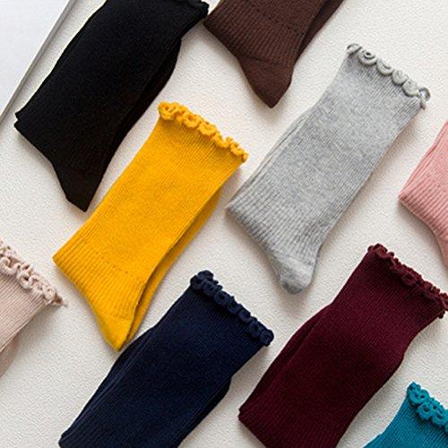 LUOEM Slouch Socken Stricksocken für Damen Mädchen Füße von 35-38 Größen (Schwarz) - 2
