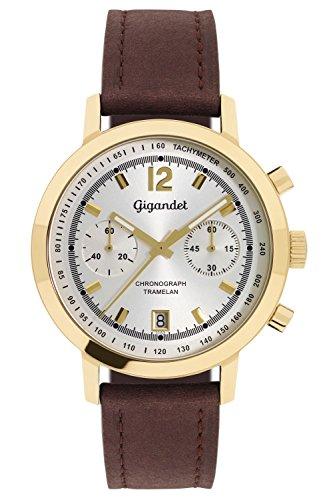 gigandet tramelan men's quartz watch chronograph analogue date brown gold g10-005