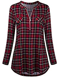 OverDose Damen Casual Übergröße Unregelmäßige Mode Lose Leinen Kurzarm  Shirt Vintage Bluse Fest Hemd Lang Tank Tops T-Shirt… df67f15733
