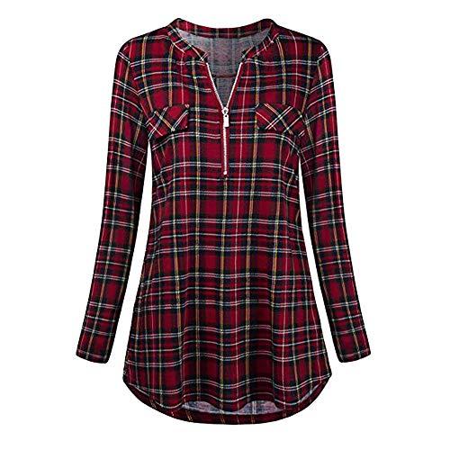 Xmiral Damen Shirt Bluse Rolled Sleeve Reißverschluss mit V-Ausschnitt Plaid Printed ()