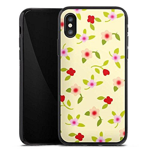 Apple iPhone X Silikon Hülle Case Schutzhülle Blumen Muster Herz Silikon Case schwarz