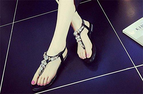 ALUK- Été - coréen plat décontracté sandales mode avec des chaussures de plage ( couleur : Noir , taille : 35 ) Noir