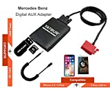 Mercedes Benz iPhone Stereo Aux Adapter, KFZ Digital Audio-Eingang Interface mit SD-Karte, iPod MP3 USB, 3,5 mm AUX IN, Lighnting Musik Player für Mercedes Benz alle Modell 1994-1998 (M06-MB)