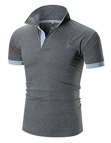 Boom Fashion Herren Poloshirt Beiläufig Kurzarm Stehkragen- Gr. L, Grau