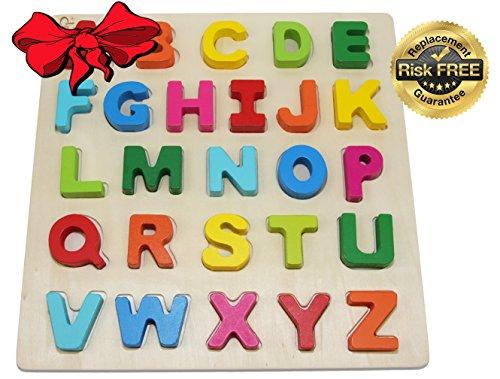 EasY Kid's ToY Holz Puzzle Grossen Bunten Buchstaben, Bestes Holzspielzeug für Spielerisches Lernen des Alphabet und Motorik ab 2 Jahre, Geschenk für lebhafte Kinder, Rahmenpuzzle für Spiel / Spass