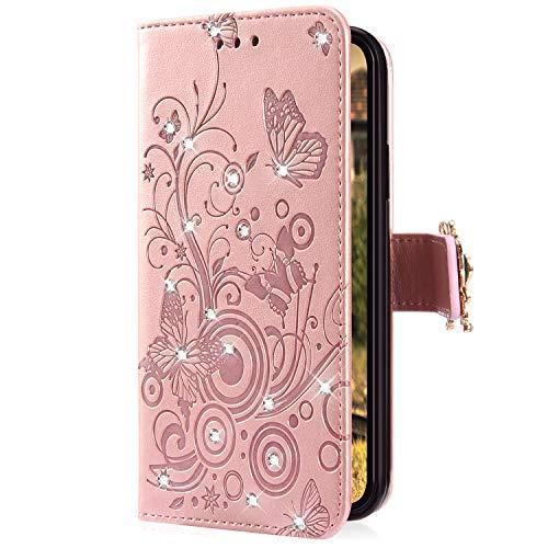 Uposao Kompatibel mit Samsung Galaxy S8 Handyhülle Schmetterling Blumen Muster Luxus Bling Glitzer Leder Wallet Schutzhülle Brieftasche Leder Hülle Klapphülle Brieftasche Tasche,Rose Gold