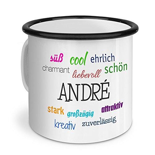 printplanet Emaille-Tasse mit Namen André - Metallbecher mit Design Positive Eigenschaften - Nostalgie-Becher, Camping-Tasse, Blechtasse, Farbe Schwarz