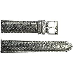 Watch Strap in Silver Snake skin - 20 - - buckle in stainless steel - B20060