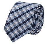 Fabio Farini karierte Krawatte klassisch 8 cm Breite, mit Karomuster in mehreren Farben für Weihnachten, Geburtstag, Hochzeit, Büro (Blau Schwarz Grau kariert)