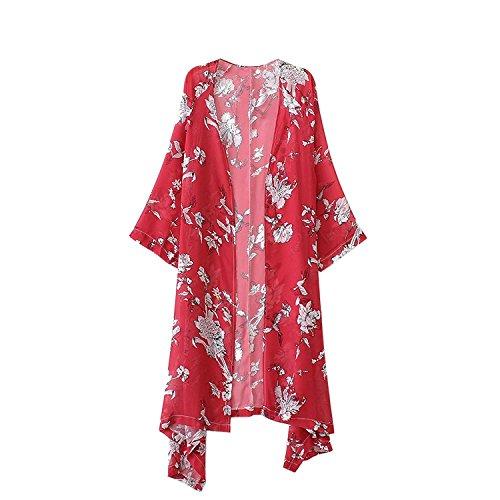 Rot Floral Kimono (Abollria Damen Kimono Cardigan Chiffon Sommerkleid Floral Print Knielang Beach Cover up Leicht Tuch für die Sommermonate am Strand oder See (M, Rot))
