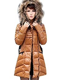 78f352b3f6ca7 Gaorui women winter quilted jacket belted parka faux fur Down Hooded Slim Long  Jacket Coat padded