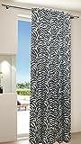 Gardine Vorhang Schal verdeckte Schlaufen Microsatin modern mit Zebra Muster blickdicht, 245x140, 20450
