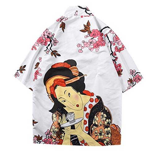 LLonGao Mode-Liebhaber Individualität Print Top Bluse Kimono Hot Spring Kleidung Printed Japanese Style Bluse Casual Urlaubsstil Tops -