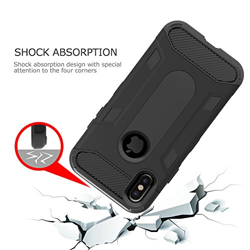 iPhone X Case, Three Layer Hybrid Defender Case VMAE 3in1 Full Body Armor Anti-Slip Protective Cover Shockproof Hard PC Soft TPU Bumper Case for Apple iPhone X Edition/iPhone 10 - Red Black