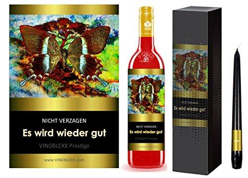 ES WIRD WIEDER GUT. 1er Geschenkset KLASSIK Perlwein (LADYLIKE spezielles Damengetränk). Ein Geschenk mit Stil & Prestige in Golddruck das jeden begeistert. Hochwertiger Qualitätswein. Verschiedene Etiketten-Designs, aktuell: Schmetterling