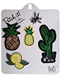 Leslii Bügelbilder Patches Ananas & Kaktus 5er Set Textil
