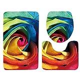 Set 3tlg Badematten, Asnlove Rechteck Badvorleger 75 x 45 CM Badteppich Badgarnitur Matte Badvorleger WC-Deckelbezug Toilettendeckel Set 3tlg Bathroom Rug Mat Weich Duschmatte mit 3D Muster - Rosa