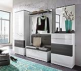 5-tlg. Garderobe in Hochglanz weiß/Absetzg. grau, Schrank B: 65 cm, Paneel u. Bank B: je 100 cm, Spiegel u. Schuhschrank B: je 65 cm, Gesamt B: 260 cm