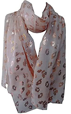 GlamLondon Leopard Scarf Rose Gold Glitter Foil Leopards Animal Print Ladies Party Casual Fashion Wrap (Creamy