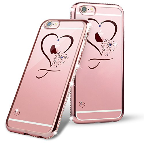 TheSmartGuard Glitzer Hülle kompatibel für iPhone 6S-6 Hülle Glitzer-Strass Case Schutzhülle (4,7 Zoll) Glamour Glitzer Crystal Look mit Strassteinen iPhone 6S-6 - Farbe: Rosé - Rose Strass Hülle Case