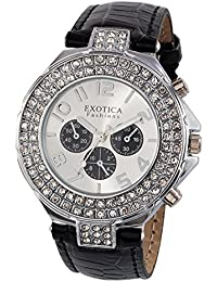 Exotica Fashions Ladies watch with water resistance PNP case with Black Dial and Black Leather band