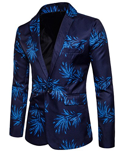 Uomo Signori Slim Fit Casual One Button Vestito di Affari Cappotto Stampato Giacca Blazers Outwear Blu