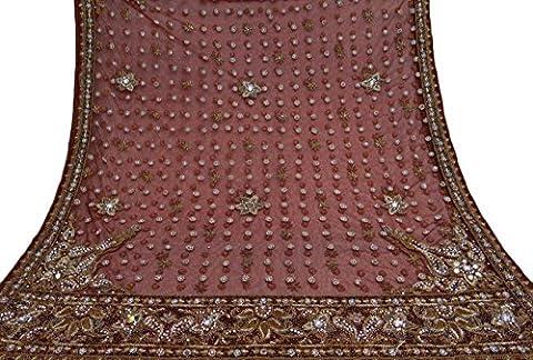 Jahrgang-BrautDupatta langes indisches Schal-Netz-wulstige Gewebe-Kastanienbraune Schleier-Stola