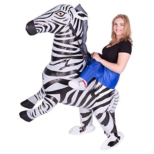 Imagen de disfraz de cebra safari hinchable para adultos