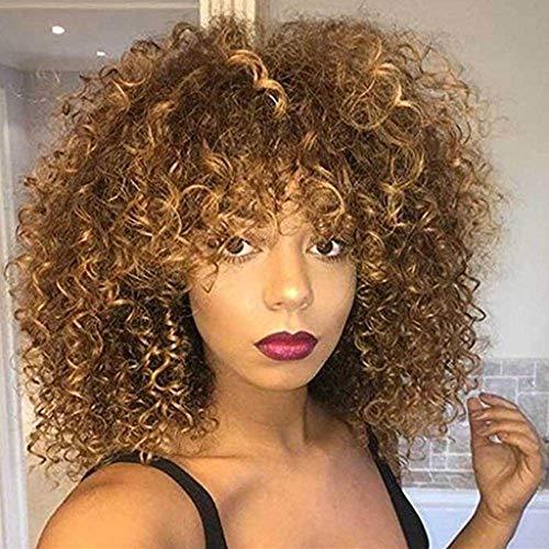 Pelucas sintéticas rizadas Afro para las mujeres negras Peluca rizada rizada rizada marrón corta Peluca...