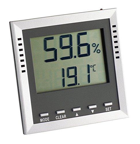 TFA Dostmann Klima Guard digitales Thermo-Hygrometer, Kontrolle von Temperatur/Luftfeuchtigkeit, Höchst- und Tiefwerte, Alarmfunktion