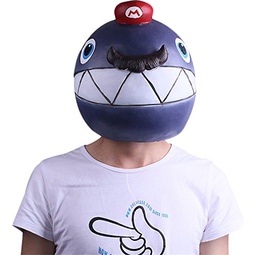 nihiug Super Mario Odyssey Bombe Maske Kopfbedeckung Halloween Maske Spiel Requisiten,Mario-OneSize (Mario Spiele Halloween)