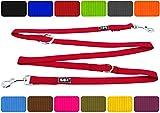 DDOXX Hundeleine Premium Nylon | 4fach Verstellbar | für Große, Mittelgroße, Mittlere & Kleine Hunde | Hundeleinen | Führleine | Doppelleine | Flexi ble Leine Hund | Rot, L - 2,5 x 200 cm
